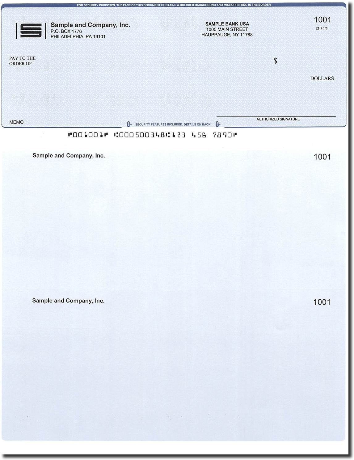 1000 Computer Checks on Top - Printed - Compatible for QuickBooks (Blue Diamond)