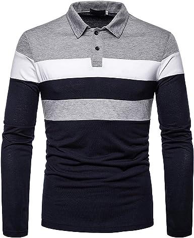 WOXING - Camiseta de manga larga para hombre, estilo casual ...