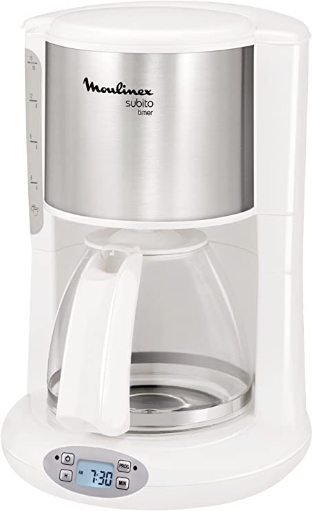 Moulinex Subito Independiente - Cafetera (Independiente, Cafetera de filtro, 1,25 L, 1000 W, Acero inoxidable, Blanco): Amazon.es: Hogar