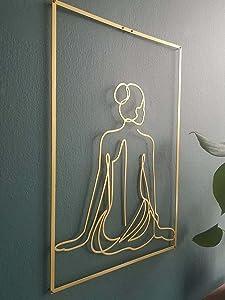 GYJZZW Susimond Gold Female Wall Decor Set, Feminine Line Minimalist Nude Single Line Art, Abstract Woman's Body Shape Wall Decor Art Print Poster, Metal Modern Acrylic Painting (Sexy Back2)