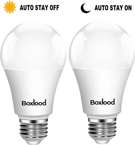 2 Pack AC100-240V,Automatic On//Off Indoor//Outdoor Yard Porch Patio Garden Dusk to Dawn A19 LED Light Bulb Built in Light Sensor E26 Base 9W 6000K Cool White