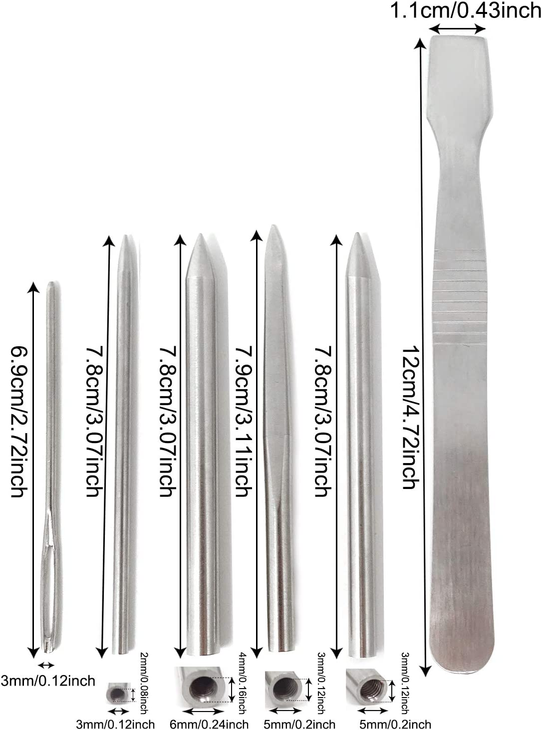 Honbay 6PCS Stainless Steel Paracord Stitching Set 3 Round Head Lacing Needles 1 Flat Head Needle 1 Large Eye Needle and 1 Paracord Smoothing Tool with a Bag