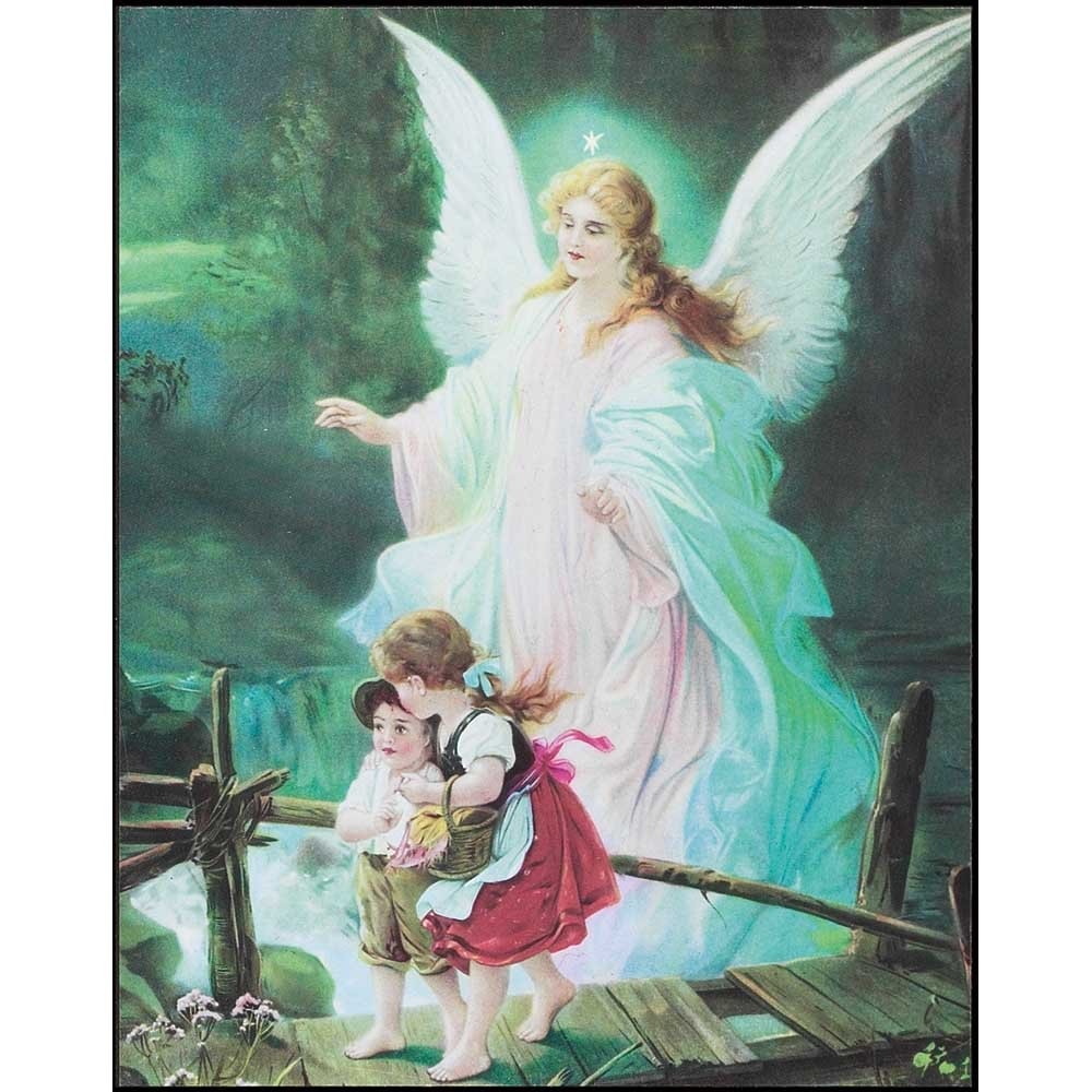 Dicksons Guardian Angel Hovering Over Children Aqua Hues 8 x 10 Wood Wall Sign Plaque