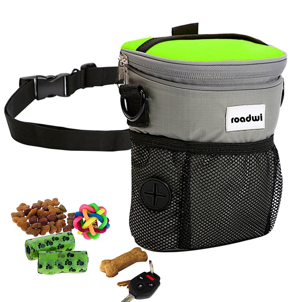 Dog Treats Training Bag roadwi Hands Free Dog Leash with Adjustable Waist Belt and Storage Bags, Lightweight Bungee Dog Leash for Running, Hiking, Walking and Jogging (Dog Treats Training Bag)