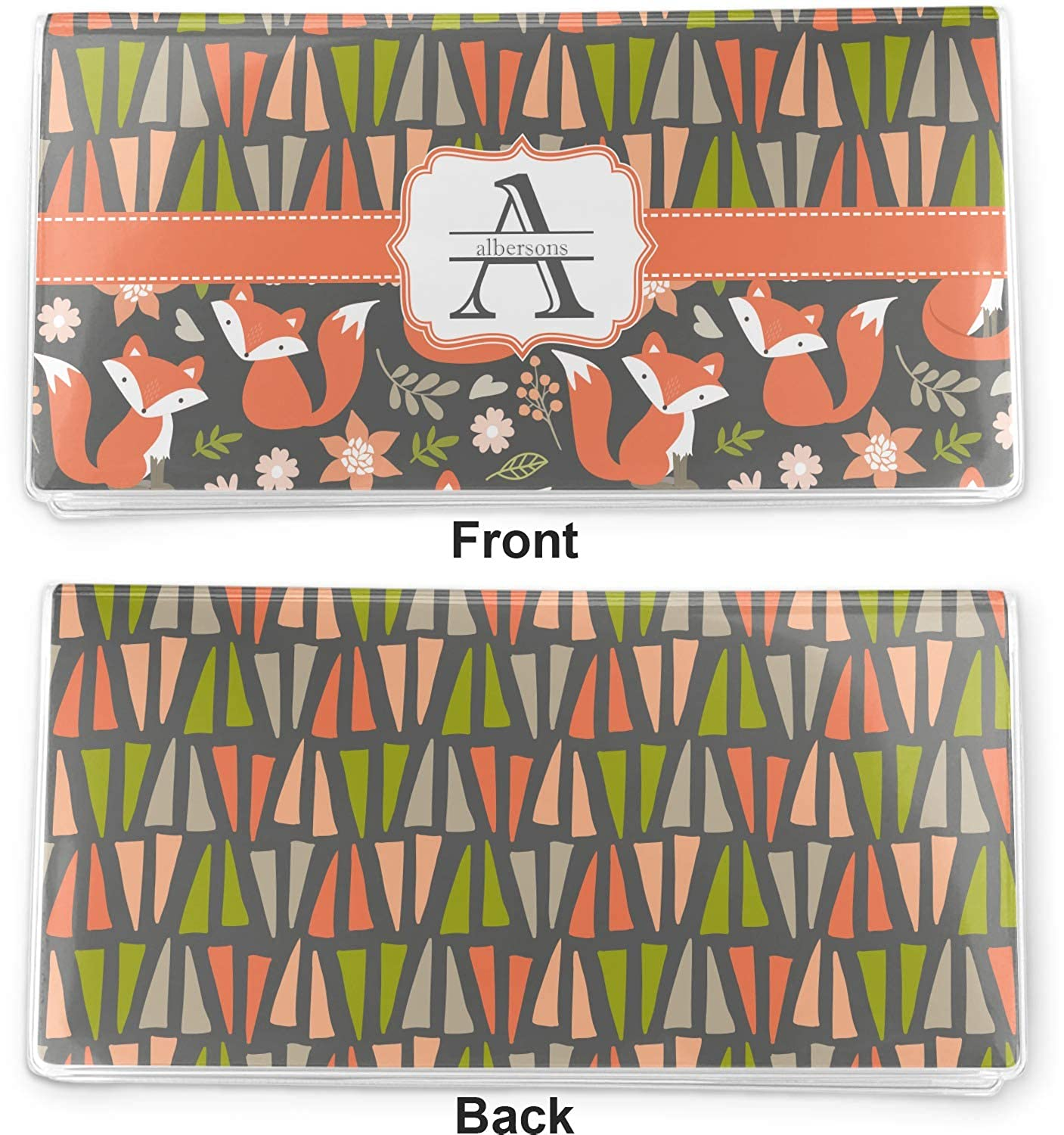 Fox Trail Floral Vinyl Checkbook Cover Personalized