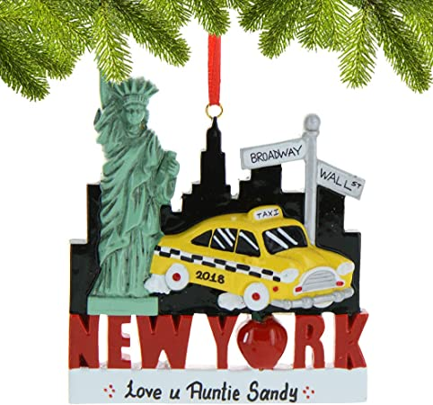 New York City Souvenir Travel Gift NYC Taxi and Christmas Tree Ornament