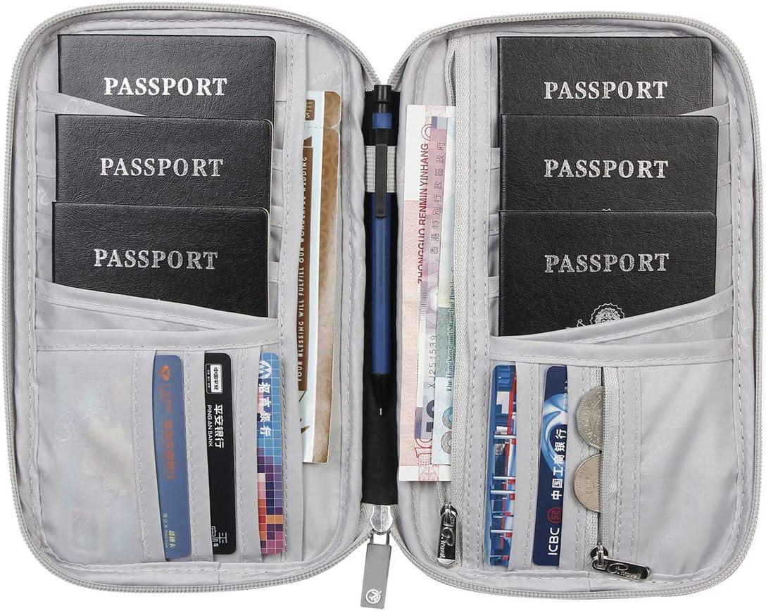   VanFn Passport Wallets, Travel Wallet, RFID Family Passport Holder, Trip Document Organizer (Black)   Passport Wallets