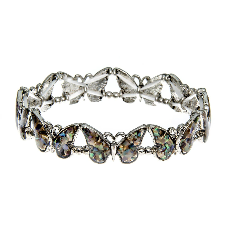 PammyJ Abalone Butterfly Stretch Bracelet 21519