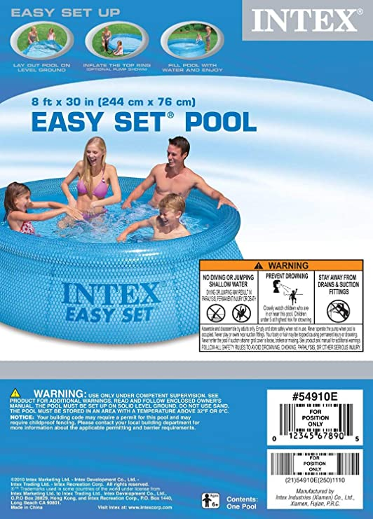 Intex 54910 Easy Set Clearview - Piscina Hinchable (76 x 244 cm) : Amazon.es: Juguetes y juegos