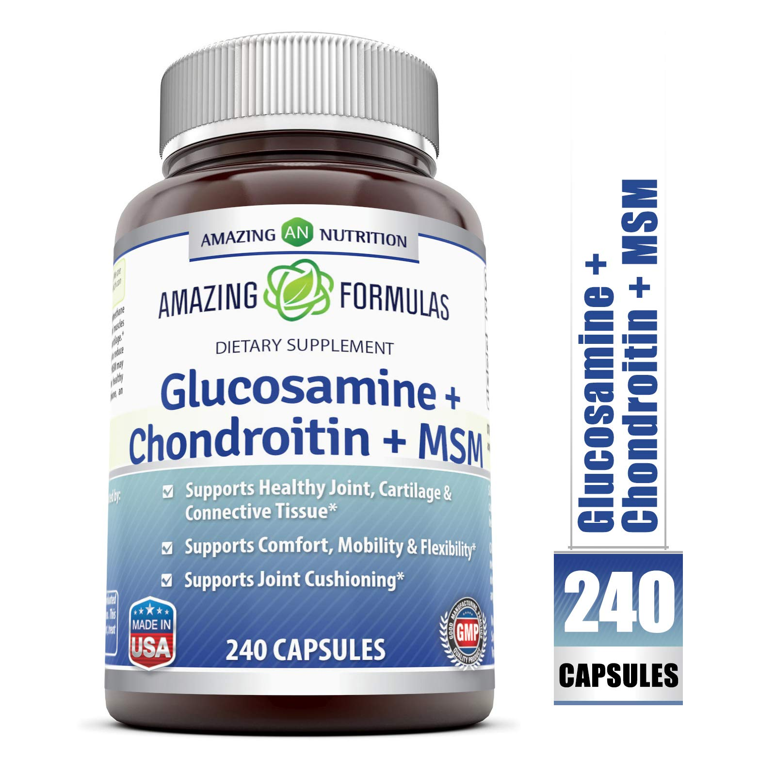 Amazing Formulas Glucosamine + Chondroitin + MSM - 240 Capsules - Supports Healthy Joint, Cartilage and Connective Tissue - Promotes Joint Comfort & Flexibility (240 Capsules) by Amazing Nutrition