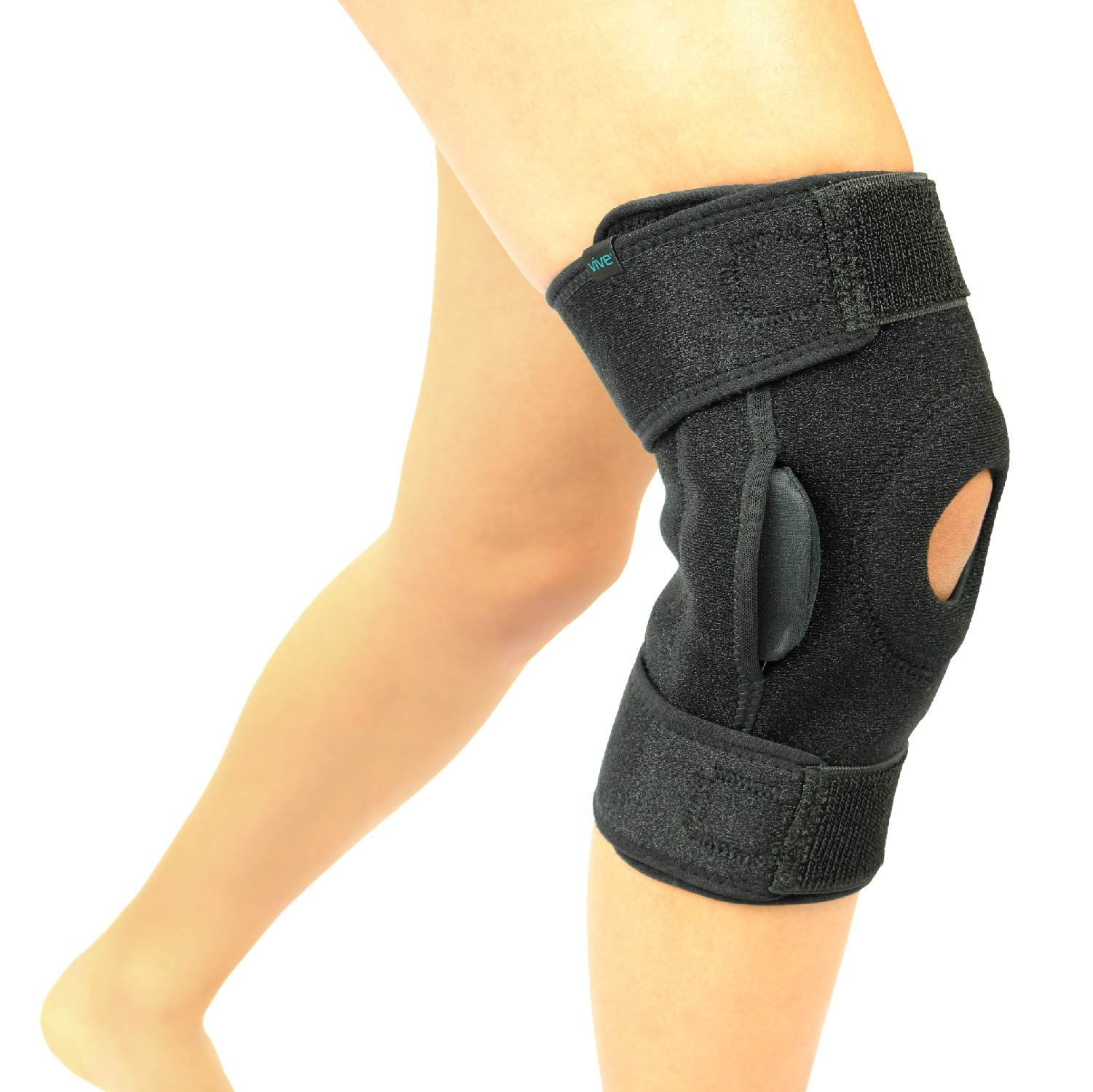 VIVE Hinged Knee Brace - Adjustable Open Patella Support for Swollen ACL, Tendon, Ligament and Meniscus Injuries - Athletic Compression for Running and Arthritic Joint Problems