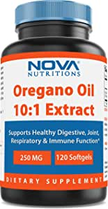 Nova Nutritions Oregano Oil 250 mg 10:1 Extract - Non-GMO & Gluten Free - Oil of Oregano Pills - Immune Support - 120 Softgels