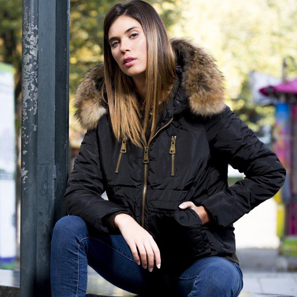 Ideal Shoes by Swan - Anorak épais à capuche avec fourrure Quetty NoirXL  Noir XL  Amazon.fr  Vêtements et accessoires cbd901803810