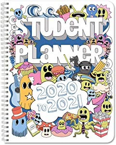"""BookFactory 2020-2021 Doodle Student Planner/Agenda/Organizer/Calendar (134 Pages) - 8.5"""" X 11"""" Wire-O (CAL-134-7CW-A(Doodle-Planner20-21))"""
