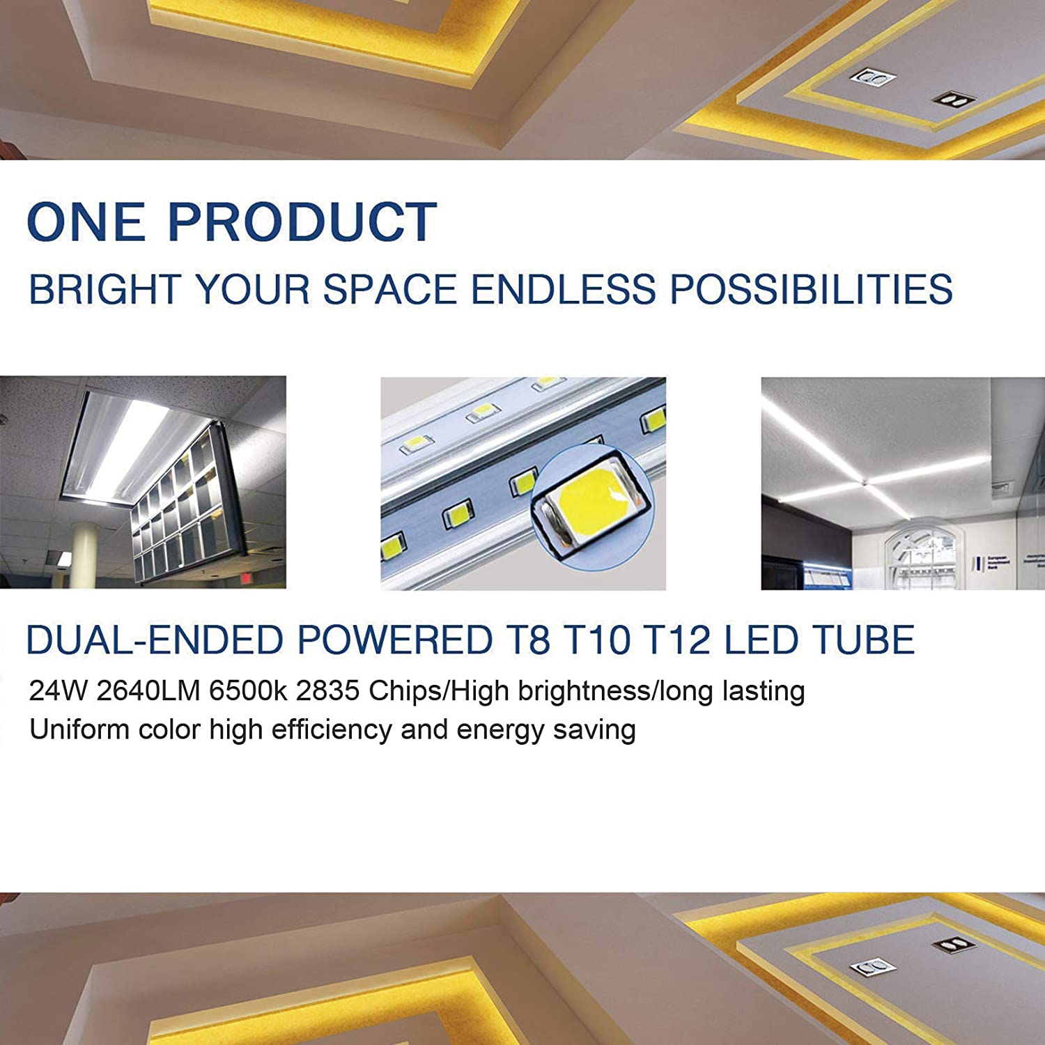 6-Pack 8FT 60W T8 LED Tube Light Daylight White 6500k,360/°Rotatable R17D//HO Caps V-Shaped Double Row LEDs Clear Cover 8 Foot Bulbs to Replace T10 T12 Fluorescent Light,Dual-Ended Power ETL Listed