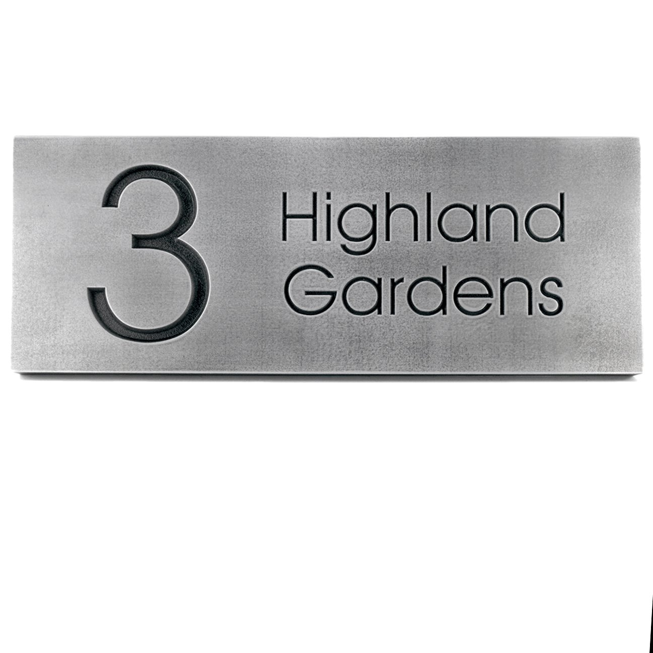 Modern Advantage Handcrafted Street Sign 20x8 - Recessed Pewter Metal Coated Plaque