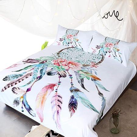 3/pi/èces Dream Catcher Housse de couette King blanc Blessliving Big Attrape-r/êves Blanc Parure de lit Boho Doona Coque hippie Couvre-lit Couvre-lit