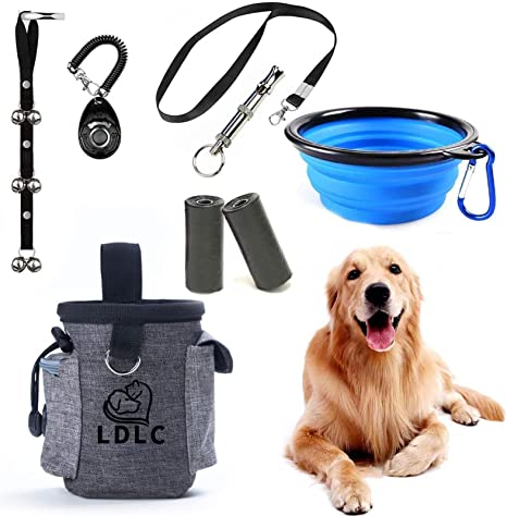 Dog Training Set Includes Clicker, Doorbells, Whistle, Portable Dog Bowl, and Training Bag