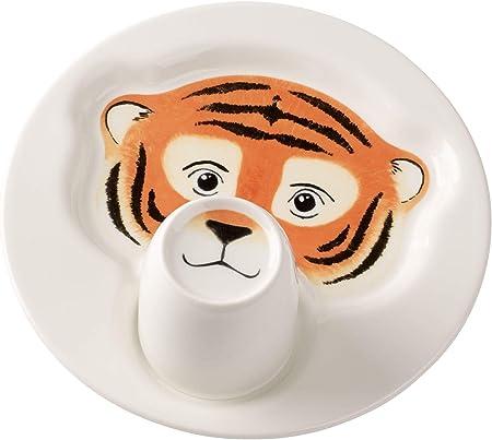 Villeroy & Boch Animal Friends Juego de mesa infantil con motivos de tigre, 2 piezas, Porcelana Premium, Blanco/Naranja: Amazon.es: Hogar