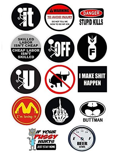 6cc571bd689e Funny Hard Hat Stickers | 14 Quality Decal Value Pack | Great for  Construction Toolbox, Hardhat, Lunchbox, Helmet, Mechanic, Military,  Oilfield & More ...
