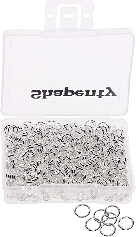 Silver Plated 1 Box//1450 PCS Mixed Size Iron Open Jump Rings Connectors for DIY Craft Earring Bracelet Necklace Jewelry Making Findings Key Ring Chain Accessories 3mm 4mm 5mm 6mm 7mm 8mm 10mm