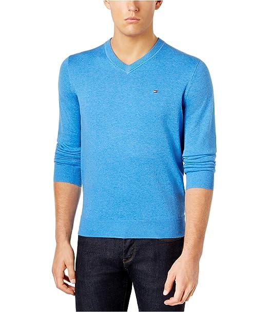 Tommy Hilfiger Mens Sweater Blue Size 2XL Signature V Neck Pullover