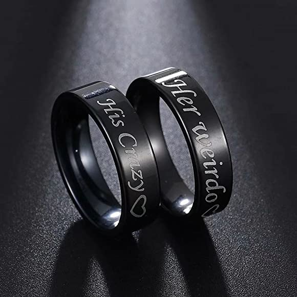 fashionlife2018 Couple Rings Wedding Band Anniversary Engagement His and Her Promise Ring His Crazy Her Weirdo Black Titanium Steel Ring 6mm