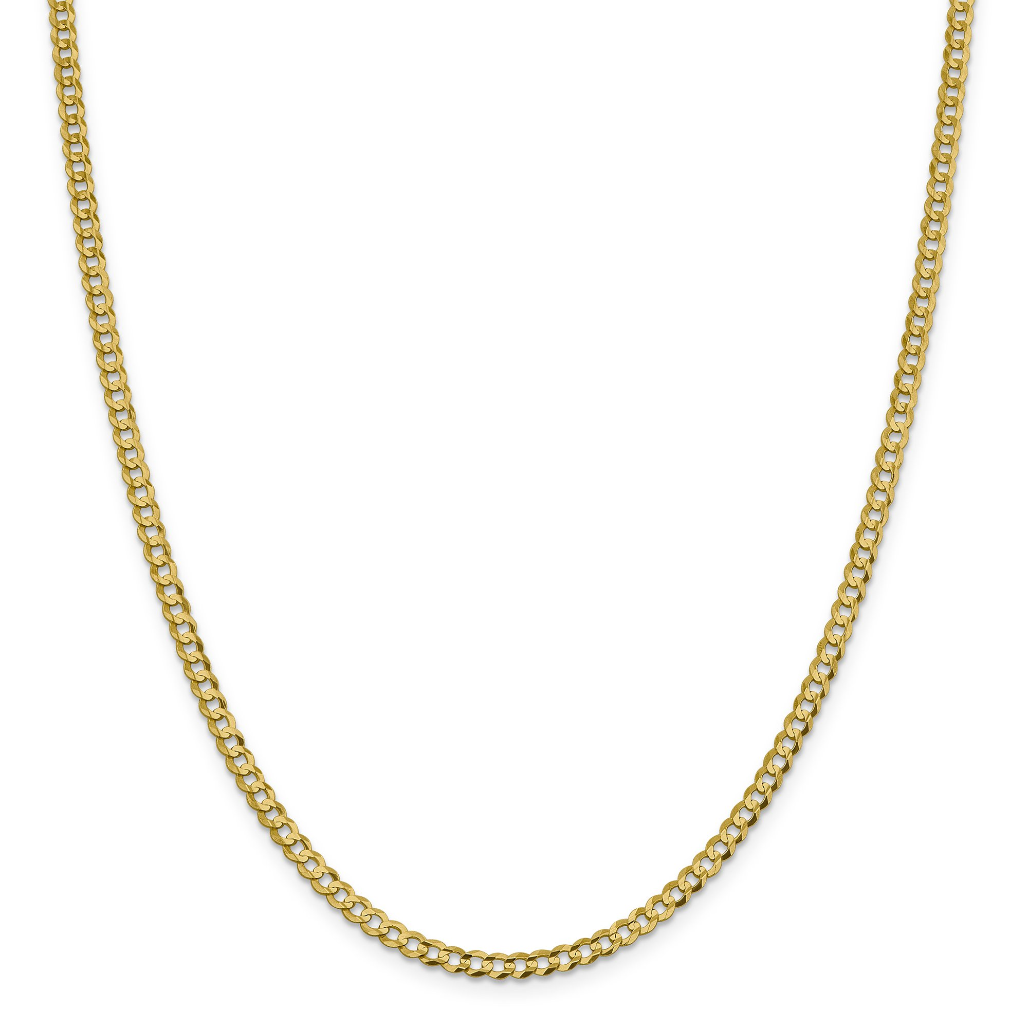 ICE CARATS 14k Yellow Gold 3.7mm Solid Flat Cuban Chain Necklace 20 Inch Curb Miami Fine Jewelry Gift Set For Women Heart