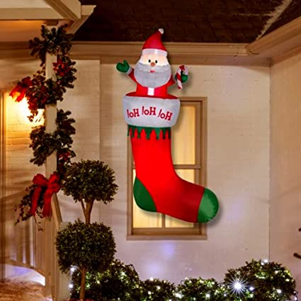 cheap inflatable christmas decorations 7 ft inflatable christmas hanging stocking large christmas yard outdoor