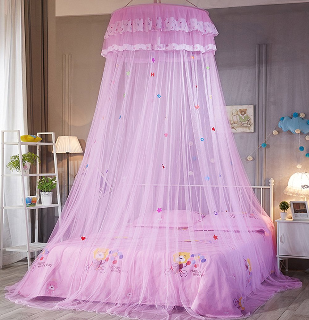 Princess Bed Canopy Mosquito Net Kids Baby Crib, Round Dome Kids Indoor Outdoor Play Tent (Pink) Mengersi