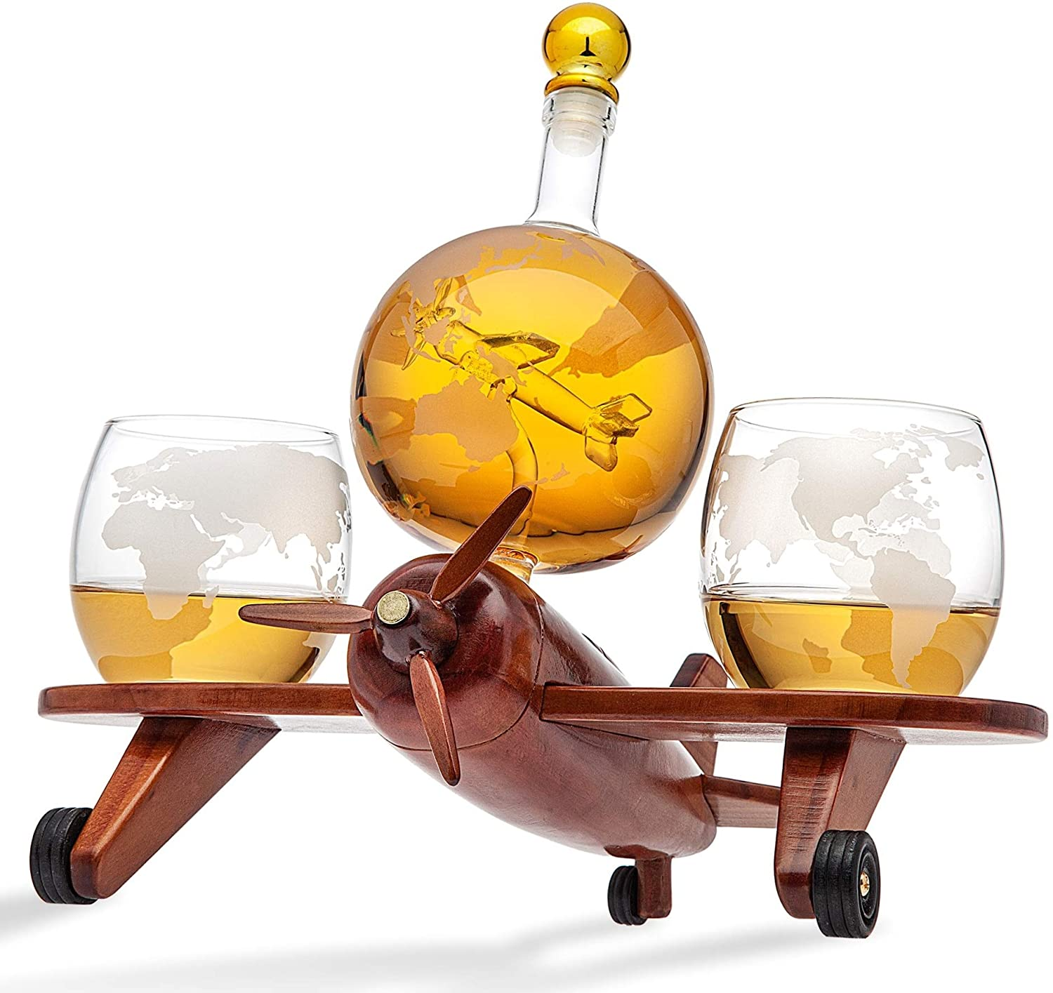 Godinger Whiskey Decanter Airplane Globe Set with 2 World Whisky Glasses - for Liquor Scotch Bourbon Vodka