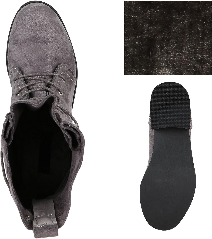 stiefelparadies Damen Schnürstiefeletten Übergrößen Flandell Grau Arriate