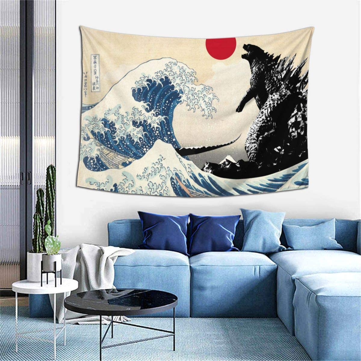 GIPHOJO Tapestry Godzilla on The Japanese Wave Tapestry,Kanagawa Great Wave with Sun Wall Hanging Decoration for Apartment Home Art Wall Tapestry for Bedroom Living Room Dorm 60 x 40 Inches