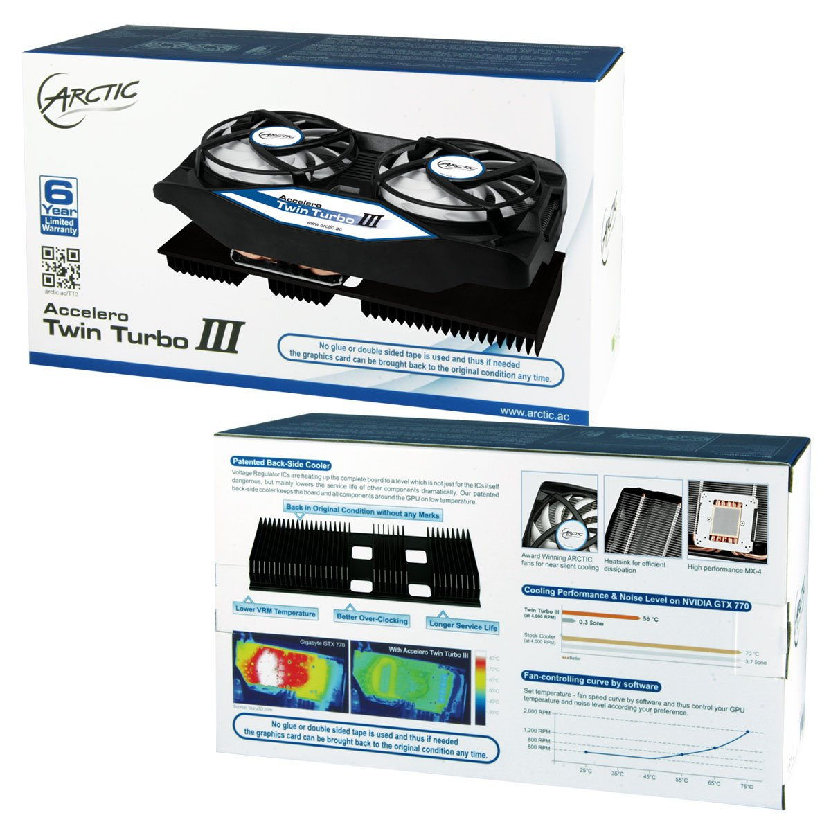 ARCTIC Accelero Twin Turbo III Graphics Card Cooler with Backside Cooler for Efficient RAM, VRM Cooling and VGA Cooler DCACO-V820001-GBA01 by ARCTIC (Image #9)