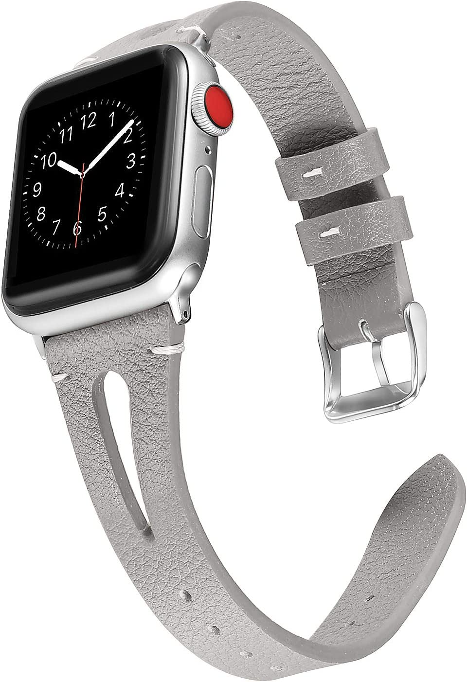 Secbolt Leather Bands Compatible with Apple Watch Band 38mm 40mm iwatch Series 5 4 3 2 1, Slim Strap with Breathable Hole Replacement Wristband Women