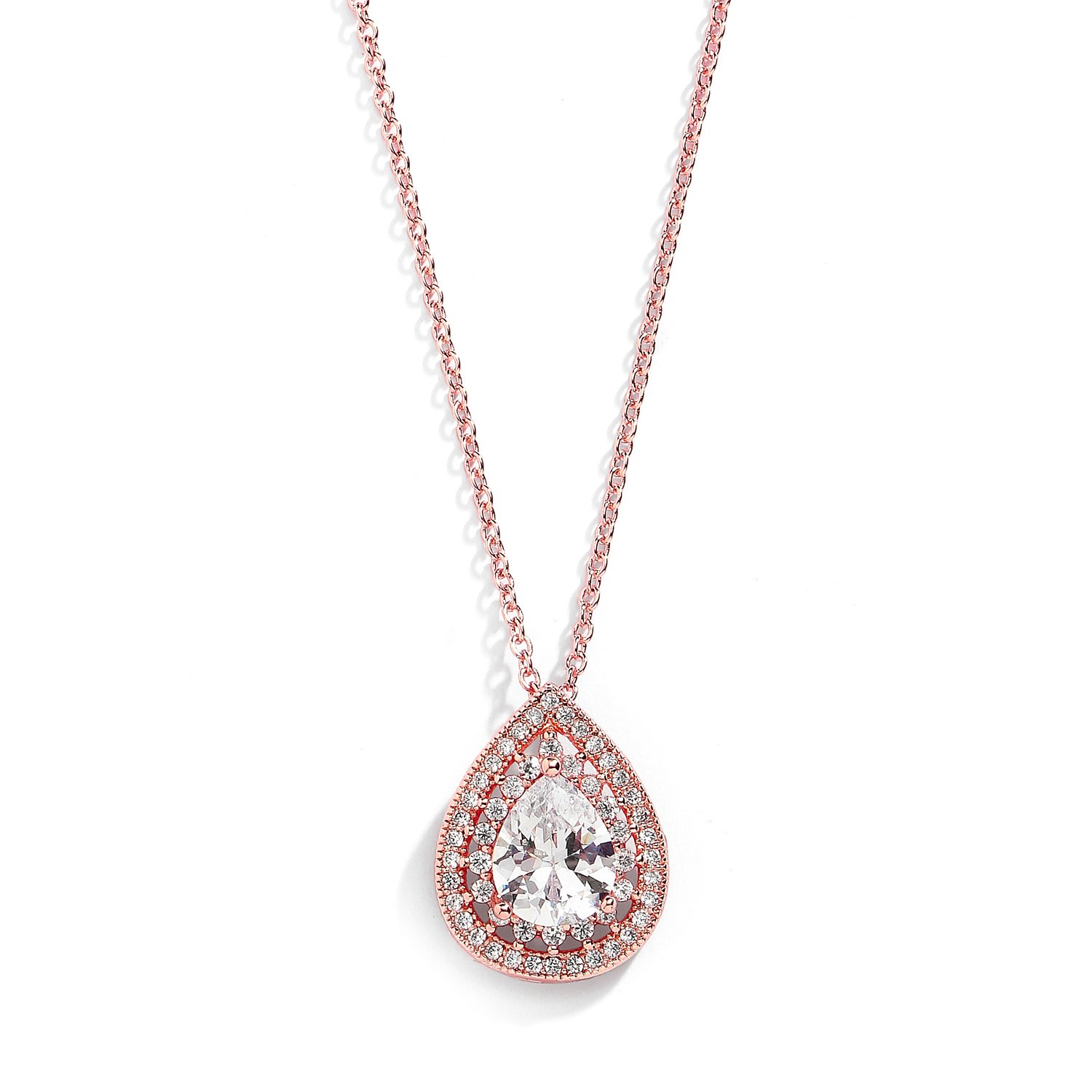 Mariell Rose Gold CZ Pave Framed Pear-Shaped Solitaire Necklace Pendant - Vintage Wedding Bridal Jewelry