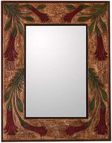 NOVICA Floral Wood Wall Mounted, Red 139751 Peruvian Cantuta Leather Mirror, Large