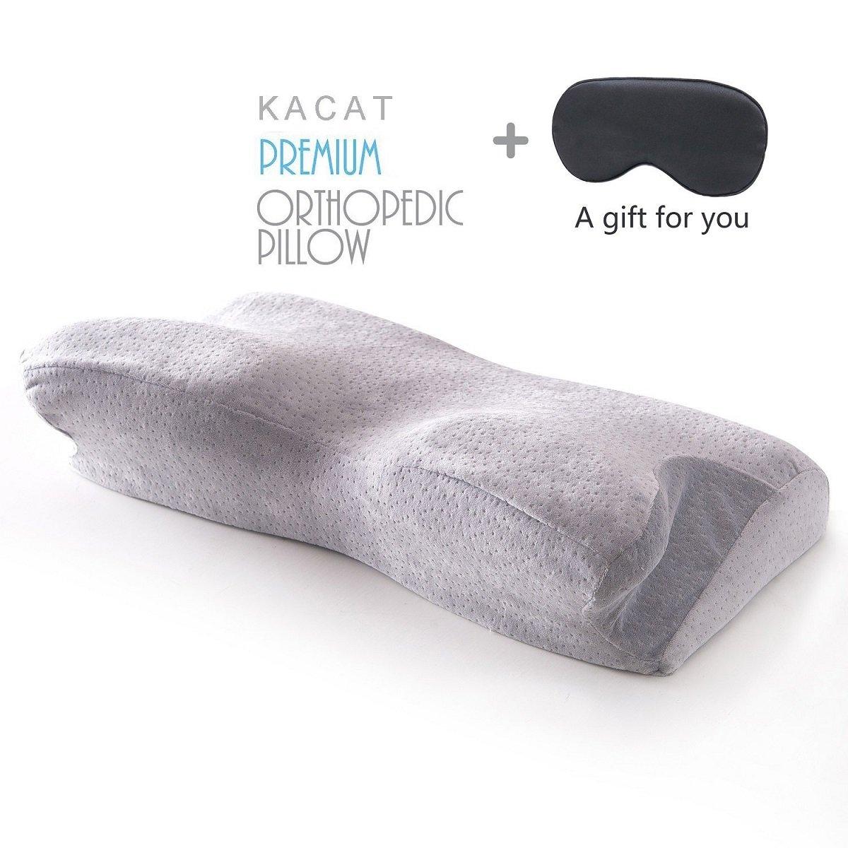 メモリーフォームベッド枕、Kacat快適な睡眠の枕ネックサポートat any sleeping姿勢、人間工学首枕withファスナー付き洗濯可能枕カバー L グレー B074QLHTBSButterfly Shape-grey