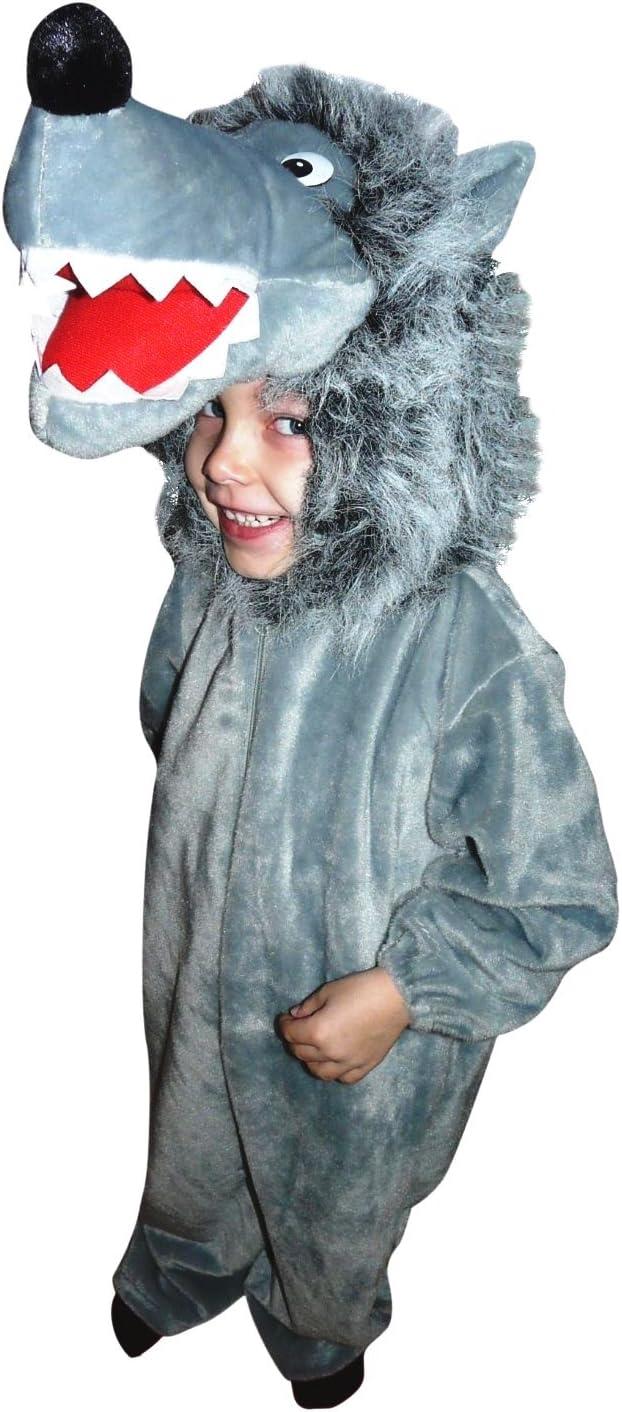 F49 Tamaño 3-4 Años Cómodo de Llevar Traje de Lobo Para Bebés y Niños, Wolf Vestuario Sobre la Ropa Normal