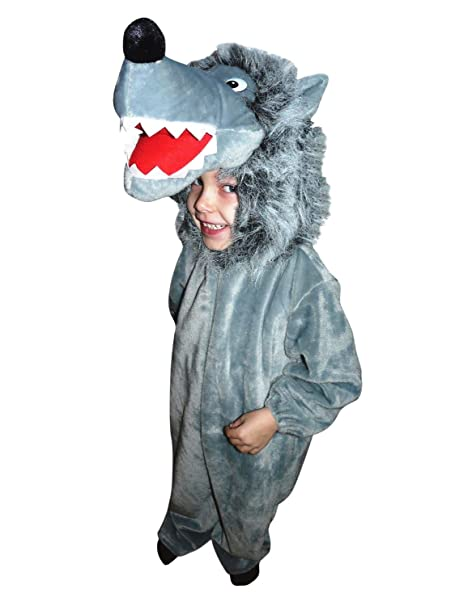 F49 Tamaño 2-3 años traje de lobo para los bebés y niños pequeños, cómodo de llevar traje de lobo sobre la ropa normal
