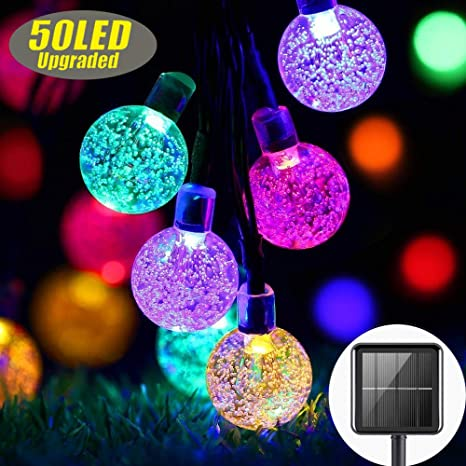 7M//23Ft 50 LED Bulbs,Waterproof Festival Indoor//Outdoor Garden Lights Crystal Ball Decorative Fairy Lights for Garden Patio Yard Home Wedding Christmas Parties,Warm White Solar String Lights Outdoor