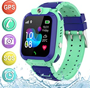 "Kids Smartwatch GPS Tracker Phone - 2019 New Waterproof Children Smart Watches with 1.4"" Touch Screen SOS Phone Call Talkie Walkie Pedometer Fitness Sports Band for Boys Girls Age 4-12 (Blue)"