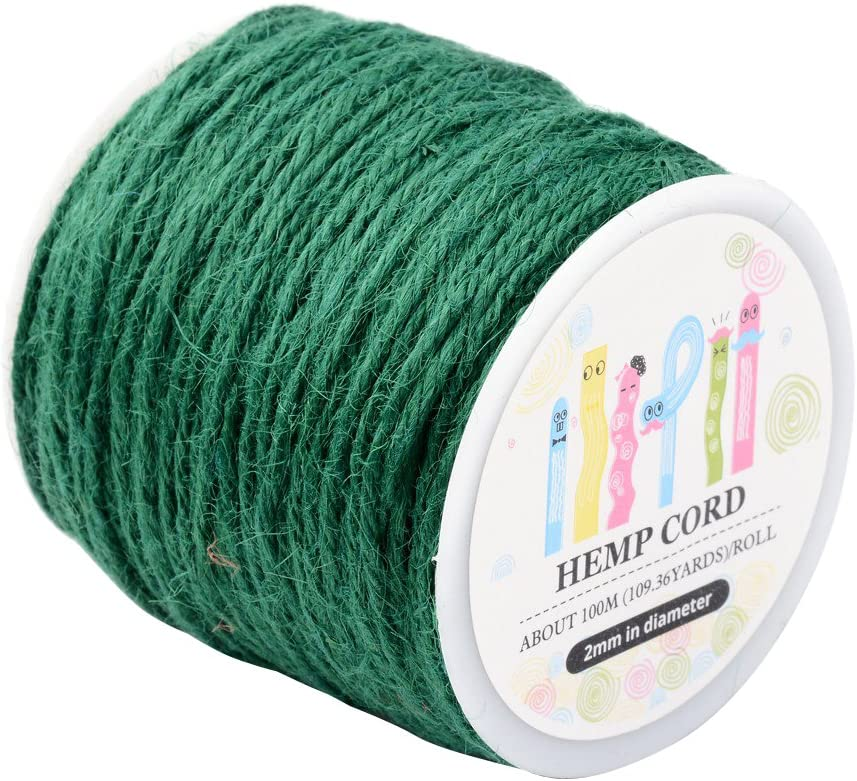 Pandahall 1 Roll(100m, About 100 Yards) Green Colored Jute Twine Jute String for Jewelry Making Craft Project, 2mm