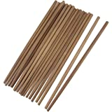 PlaceOfAll Chinese Japanese Asian Natural Bamboo Treated Chopsticks 10 Pairs Sets 9.5 Inches Long Brown Lightweight
