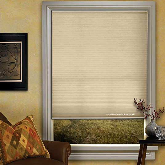 Window Blind Store Light Filtering Cordless Cellular Shade Flax 48×64