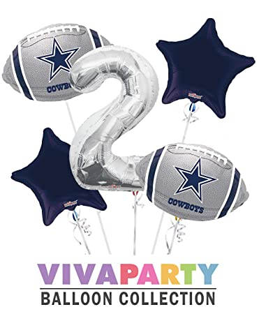 Dallas Cowboy Balloon Bouquet 5 Pc 2nd Birthday Silver Number 2 Jumbo