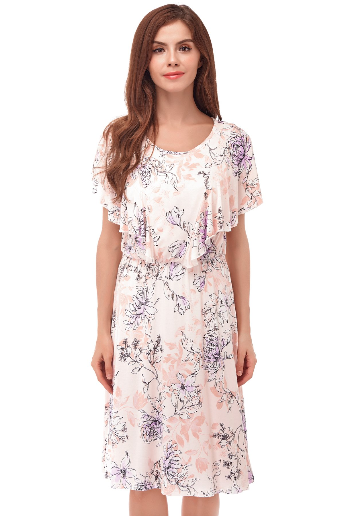 Bearsland Women's Summer Floral Cloak Design Maternity Breastfeeding Dress Nursing Dress,pinkflower,Large