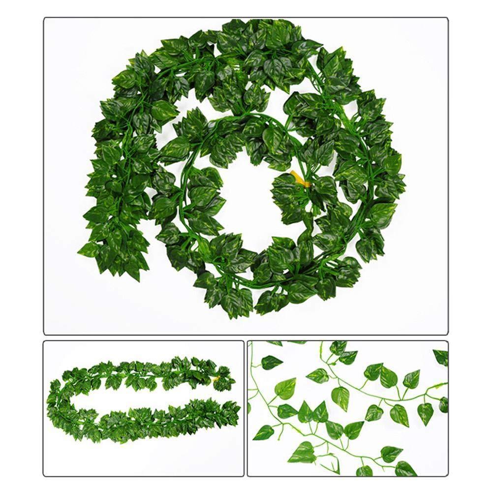PRALB 24個入り 2M 人工 アイビー つる ガーランド 植物 壁掛け 葉 装飾用 ツノ 長いつる 緑 フェイクの葉 ホーム 壁 ストリングアクセサリー B07GRMG6SQ