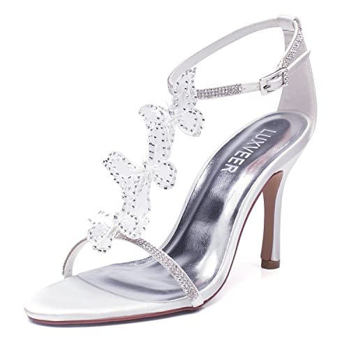 10363db0fed8 LUXVEER Women Wedding Sandals with Silver Rhinestone and Lace Butterfly -  Heels 3.5inch  Amazon.ca  Shoes   Handbags