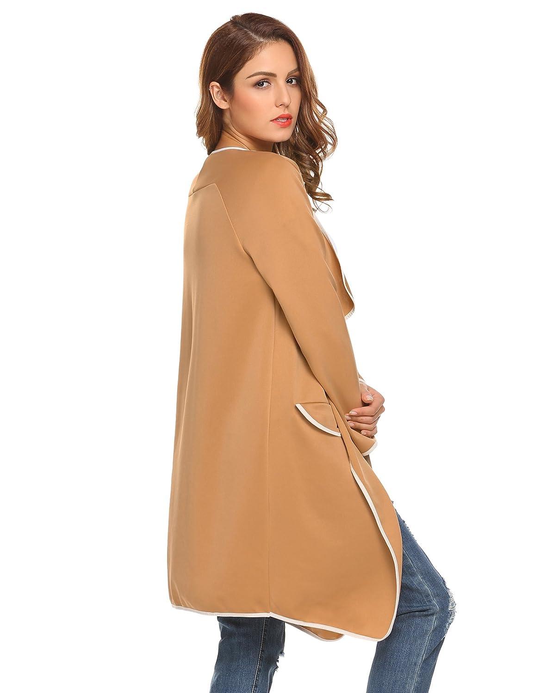 ELESOL Womens Draped Long Coat Waterfall Open Front Trench Coat Cardigan ELH022512#